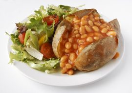 Explorers food hall jacket potato with beans